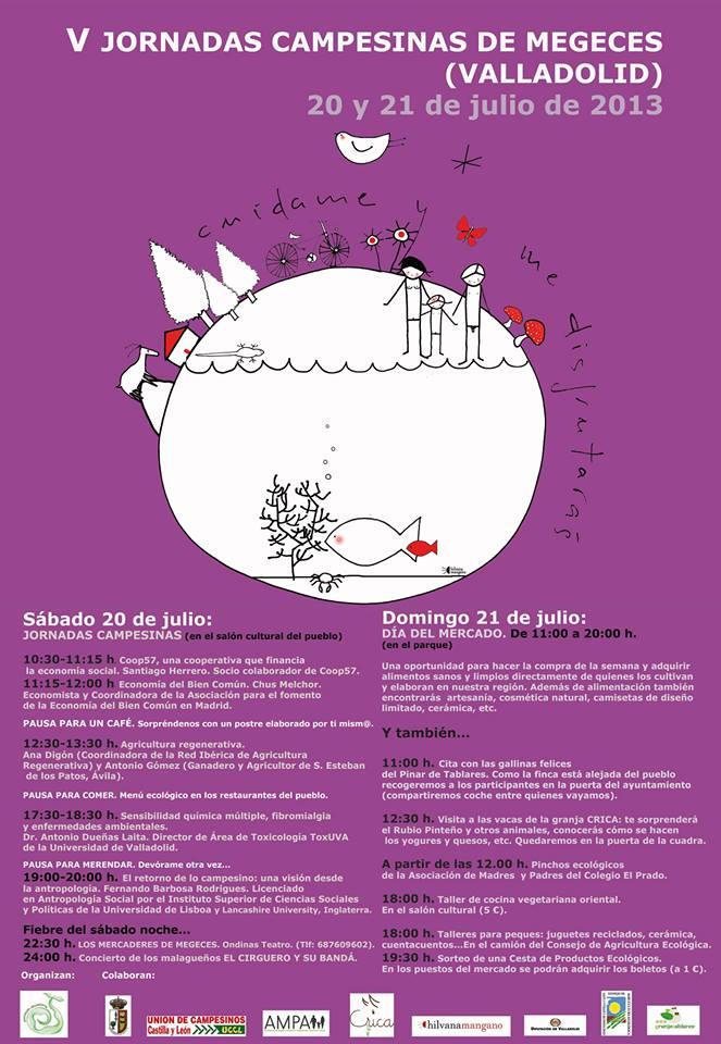 Cartel del programa de las V Jornadas Campesinas y Mercado Ecológico de Megeces 2013
